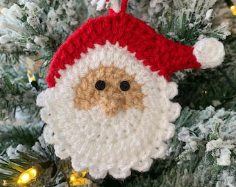 Handmade Father Christmas Tree Decoration, Crochet Santa Claus Hanging Ornament, Fun, Cute and Unique Xmas Decor For Your Home