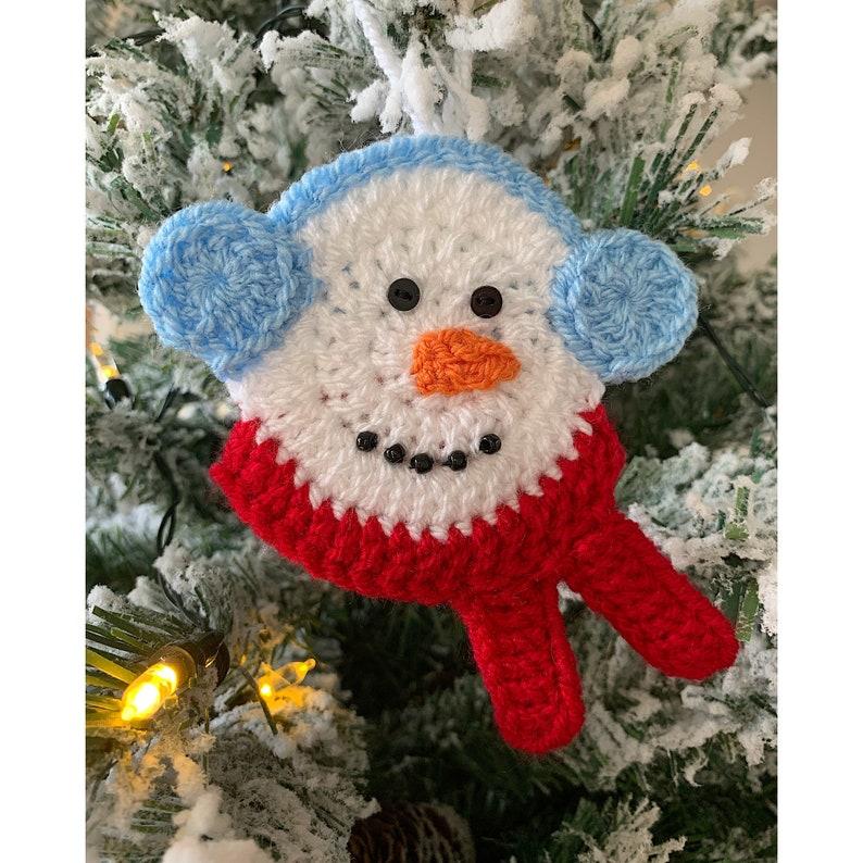 Handmade Snowman Tree Decoration Crochet Hanging Christmas image 1