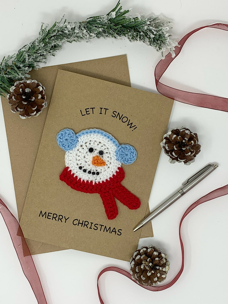 Handmade Snowman Christmas Card Fun and Cute Crochet Design image 1