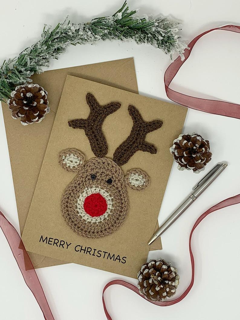 Handmade Rudolph Christmas Card Fun and Cute Crochet image 1