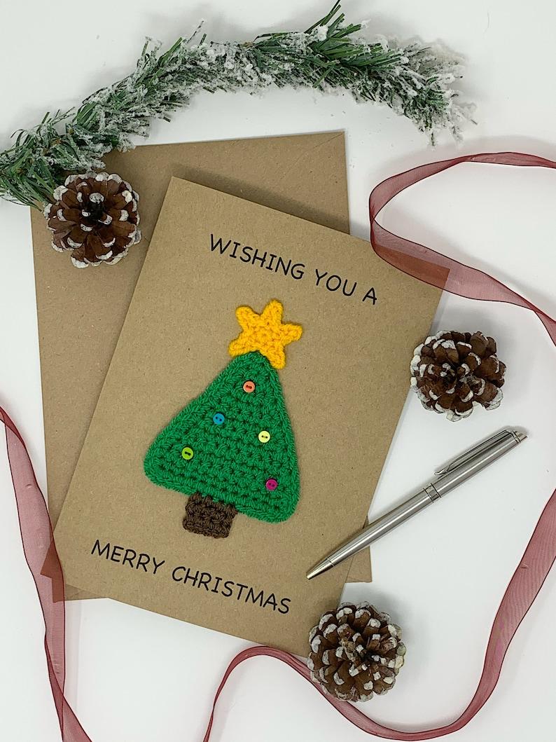Handmade Christmas Tree Christmas Card Fun and Cute Crochet image 1