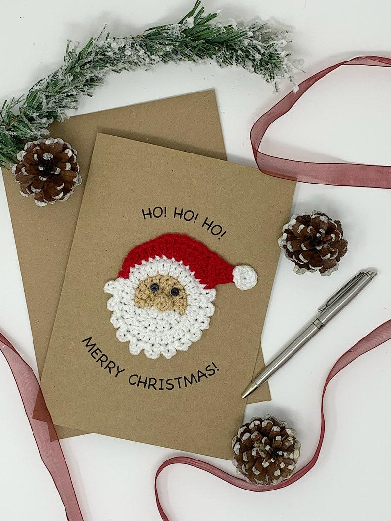 Handmade Santa Claus Christmas Card Fun and Cute Crochet image 1