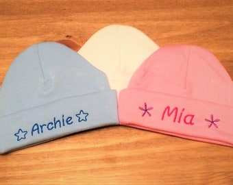 Personalised Embroidered Baby Beanie Hat