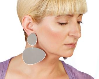 Big Mirror Gold Statement Earrings Minimalist Lightweight Dangle Bohemian Large Oversized jewellry