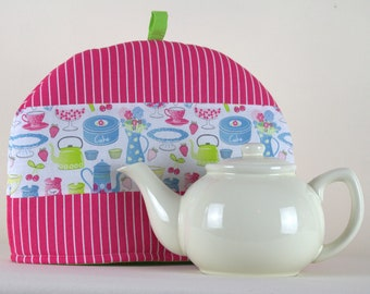 Large Tea Cosy Cozy. Brand New Made in England. Pink and Green Tea & Cake Design Fabric