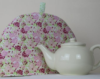 Large Tea Cosy Cozy. Brand New Made in England. Pink Rose Cotton Fabric, with Green Leaf Lining.