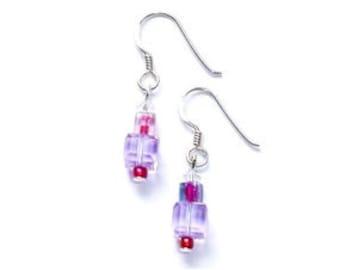 Deco Style Swarovski  Lilac Crystal Drop Earrings