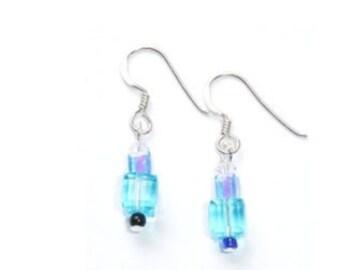 Deco Style Swarovski  Aqua Crystal Drop Earrings