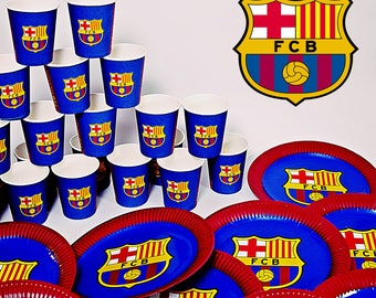 c3d7d025614 FC Barcelona Party Birthday Set 40 PCS 20 Cups 20 Plates FCB Decoration