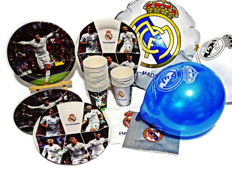 Real Madrid Party Set Birthday 67 Pcs Decoration Plates Cups Etsy