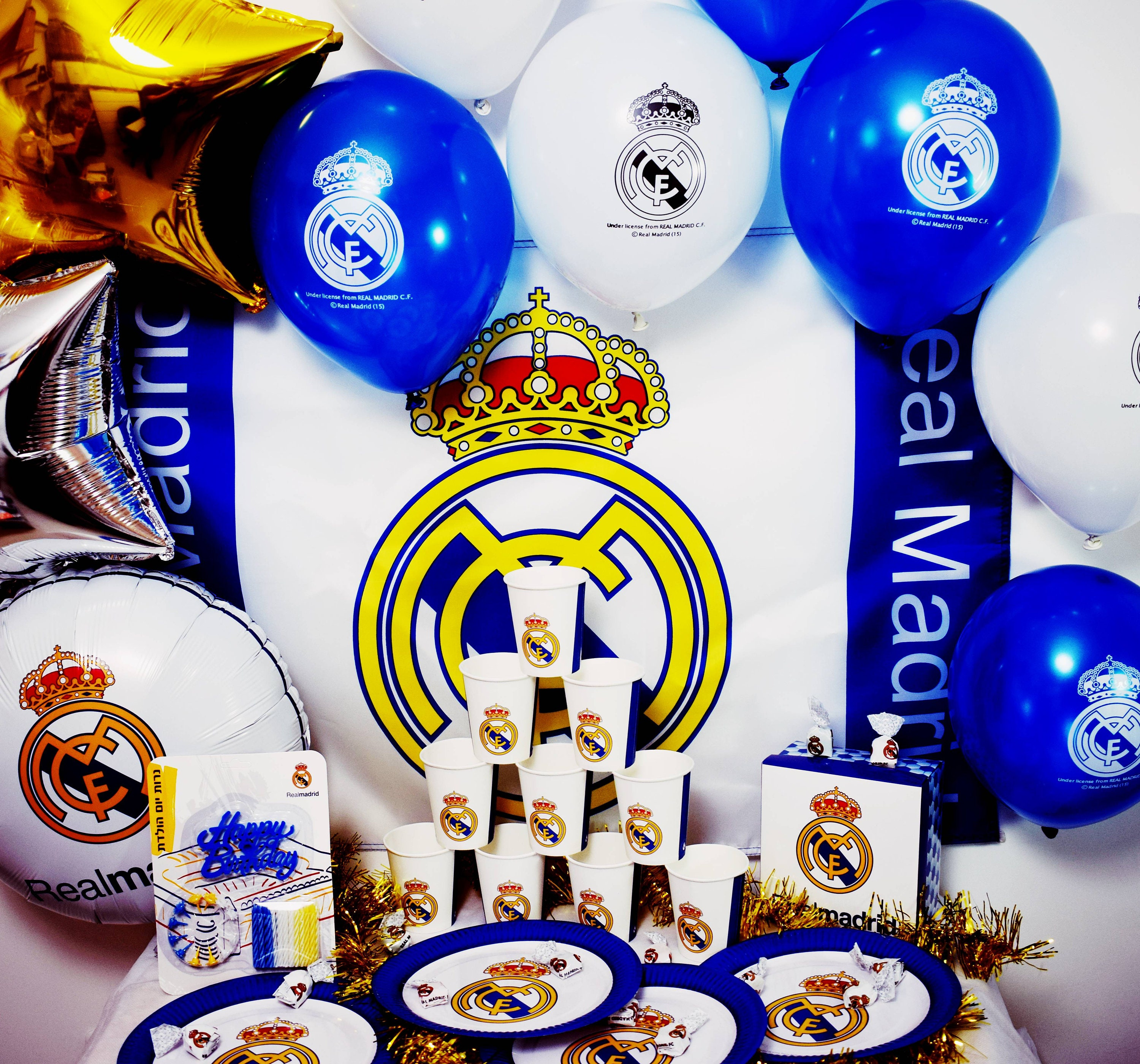 Real Madrid Party Birthday Set 62 Pcs Decoration Plates Cups Etsy