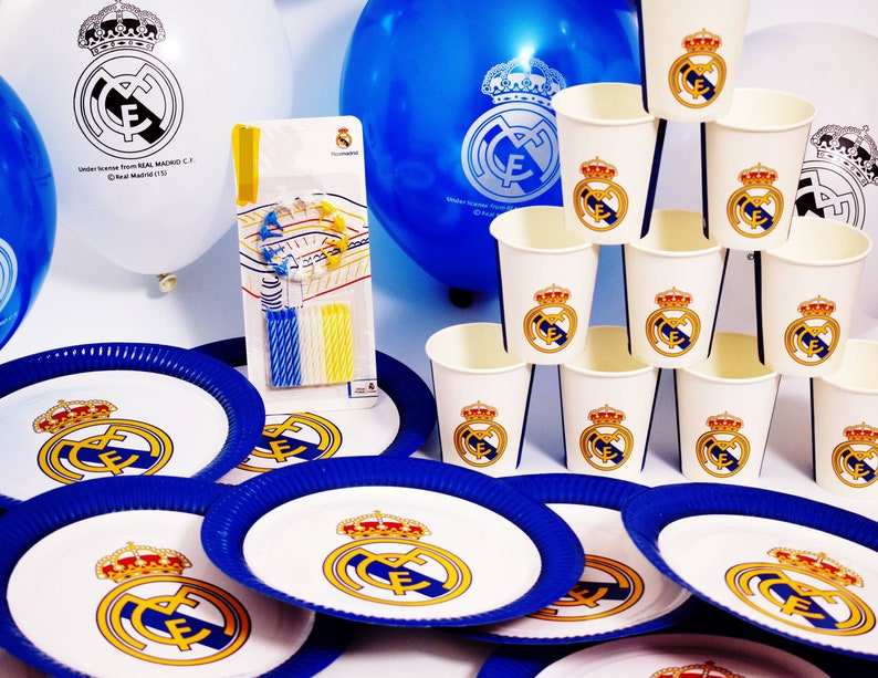 Real Madrid Party Set Birthday 31 Pcs Decoration Plates Cups Etsy