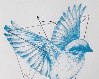 Bird in flight screen print