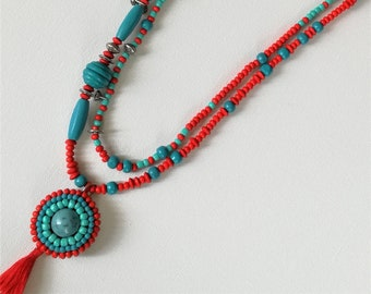 Long beaded necklace with ornament, Red and blue beaded necklace, Beaded necklace with tassel