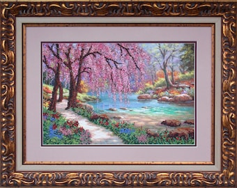 """Bead Embroidery Kit DIY 9.4""""x14.2"""" Landscape Color Canvas Beading Set Beaded Embroidery Needlepoint Beginners Free Shipping"""