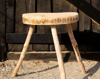 Wooden handmade stool, French stool,Primitive stool, Handmade stool, tripod stool, Milking stool, Vintage, French country decor, Home decor