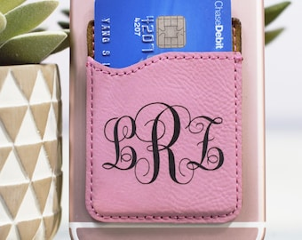 b8e41b1a7a74dc Monogrammed Cell Phone Card Holder, Personalized Cell Phone Wallet, Stick  on Card Holder, Credit Card Holder for Phone, FREE SHIPPING