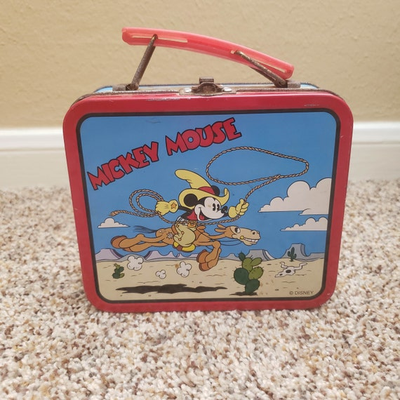 Mickey Mouse Disney Tin Lunch Box Cowboy - Vintage