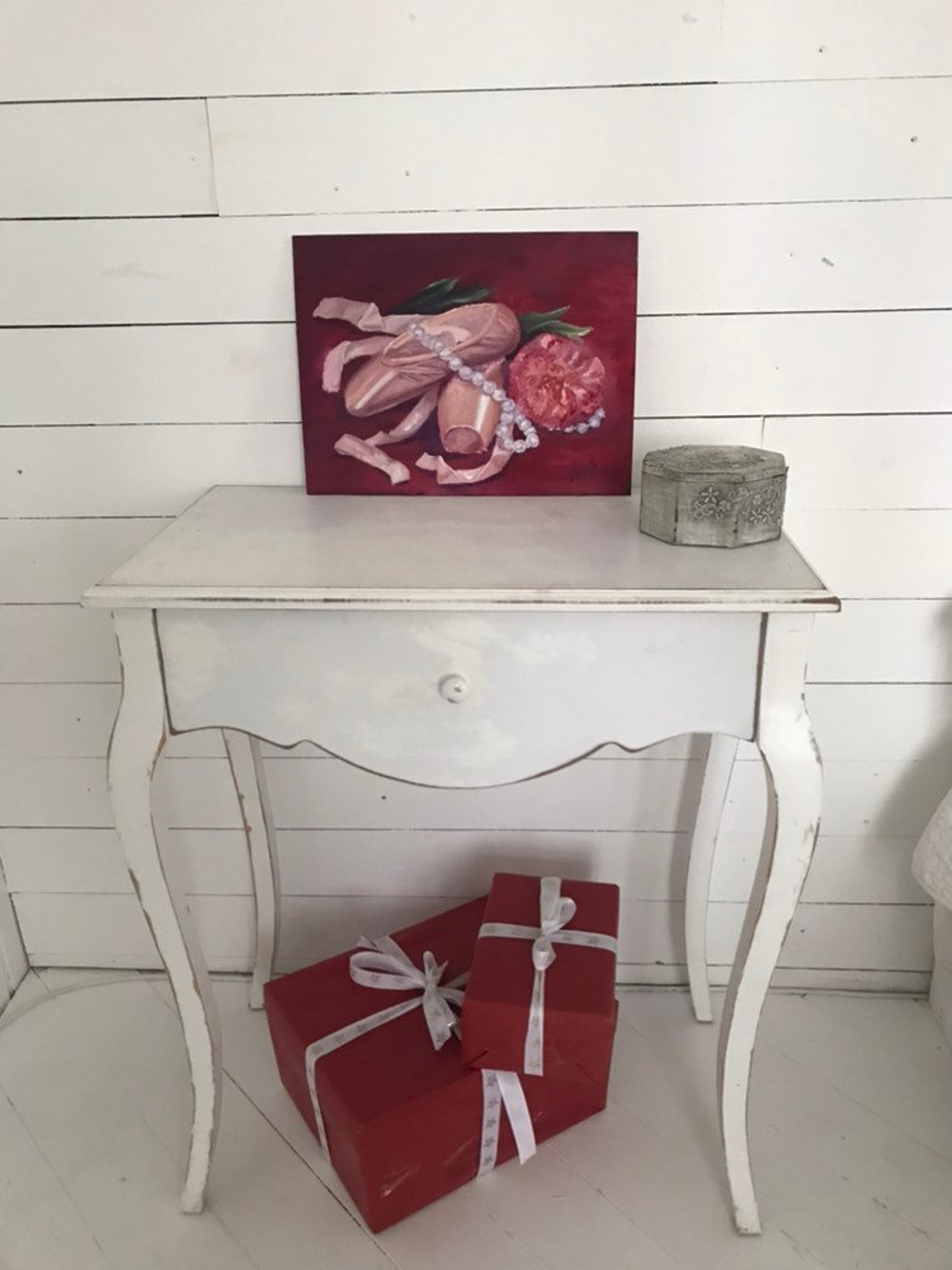 original oil painting ballet. still life with pointe and a peony. gift for loving dance.