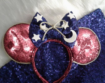 LED Silhouette Sorcerer inspired Minnie Ears