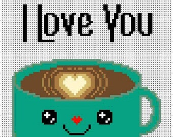 I Love You A Latte - Cross Stitch Pattern (PDF Pattern Only)