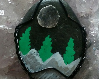 Little Pigeon River Stone Handpainted Mountains & Mica Moon