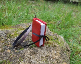 Mini red leather book with ribbon - Notebook