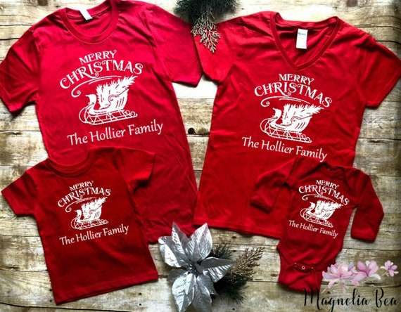 Matching Christmas Shirts For Family.Matching Family Christmas Shirts Personalized Christmas Shirts Merry Christmas Family Name Shirts Christmas Matching Shirts