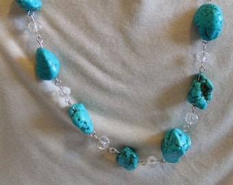 Turquoise & Crystals Necklace
