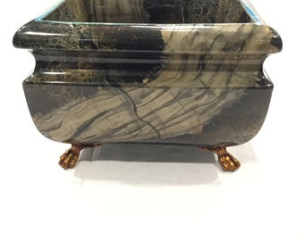 Beautiful Maitland Smith Ltd faux marble footed bowl.