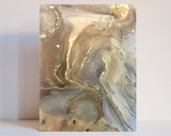 Modern Abstract Acrylic Painting on Canvas with Gold Leaf