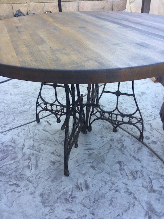 4 Round Dining Table With Vintage, Butcher Block Round Table