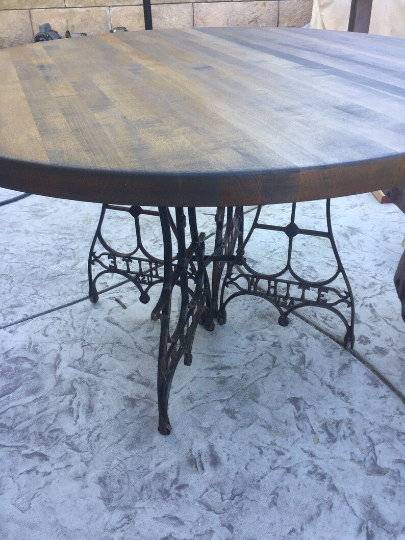Delicieux 4u0027 Round Dining Table With Vintage Butcher Block Table Top And Cast Iron  Sewing Treadle Base