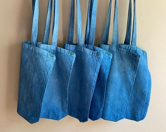 Zero Waste Tote Canvas Book Bag Naturally Dyed Tote Recycled Cotton Canvas Bag Plant Dyed Market Tote Eco-Conscious Gift. ECOBAG