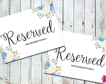 Wedding Reserved Sign Printable, Wedding Reserved Row Sign, Flower Reserved Sign, Wedding Reserved Card, Wedding Reserved Chair Sign