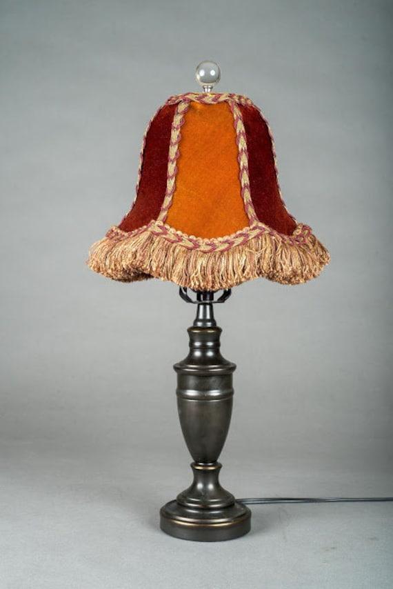 9c1091da480 Handmade autumn velvet contemporary lampshade with fringe and