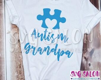 Autism Grandpa Matching Family Awareness Puzzle Piece Cut File svg eps dxf jpeg png Cricut Design Space Silhouette Studio Cameo Sublimation
