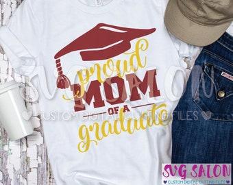 Proud Mom of a Graduate Family Grad Graduation Hat Cut File svg eps dxf jpeg png Cricut Design Space Silhouette Studio Cameo Sublimation