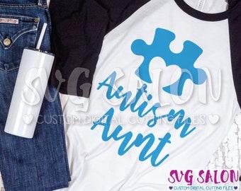 Autism Aunt Matching Family Awareness Puzzle Piece Cut File svg eps dxf jpeg png Cricut Design Space Silhouette Studio Cameo Sublimation