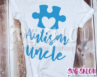 Autism Uncle Matching Family Awareness Puzzle Piece Cut File svg eps dxf jpeg png Cricut Design Space Silhouette Studio Cameo Sublimation