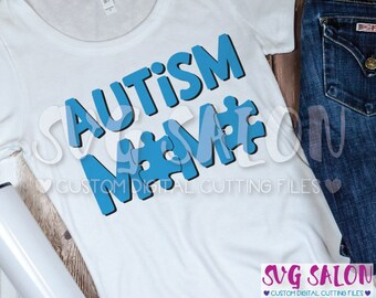 Autism Mama Matching Family Awareness Puzzle Piece Cut File svg eps dxf jpeg png Cricut Design Space Silhouette Studio Cameo Sublimation