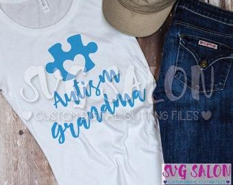 Autism Grandma Matching Family Awareness Puzzle Piece Cut File svg eps dxf jpeg png Cricut Design Space Silhouette Studio Cameo Sublimation