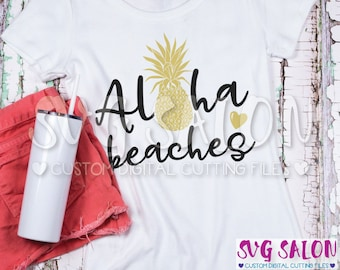 Aloha Beaches Pretty Pineapple Intricate Design Cut File svg eps dxf jpeg png Format Cricut Design Space Silhouette Studio Cameo Sublimation