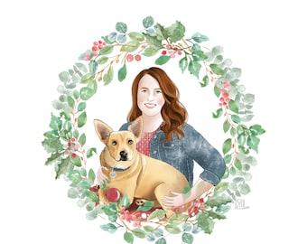 Custom Christmas Card; Cartoon Christmas portrait; Digital Christmas greetings; Custom pet portrait; Xmas gift; Season greetings