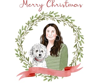 Family Christmas Card; Pet Christmas card; Digital Christmas greetings; Custom family portrait; Customized Christmas gift; Dog portrait