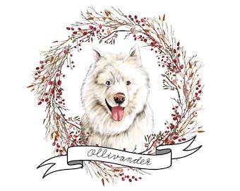 CUSTOM DOG or CAT portrait, digital portrait of your pet, dog portrait, shepard dog, mascota, custom portrait, printable illustration