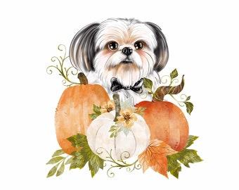 Autumn portrait of your dog; Custom dog portrait; Dog cartoon; Fall vibe portrait; Pumpkin and dog; Personalized dog portrait; Autumn