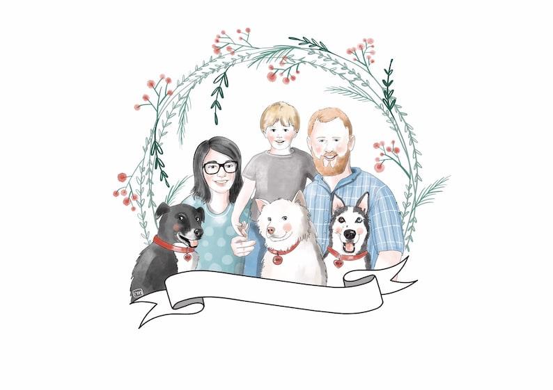 Custom Family portrait Digital portrait Family with pet image 0