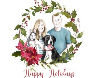 Unique Christmas portrait; Custom family portrait; Cartoon Xmas Card; Family with pets; Hand drawn portrait; Dog Christmas card; Greetings