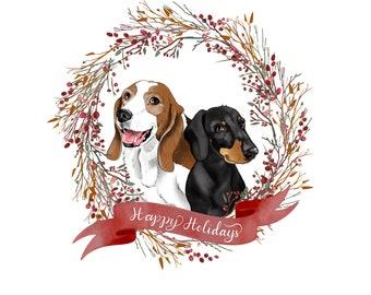 Christmas card with your pet; Pets custom portrait; Pet christmas card; Dog portrait; Dog illustration; Christmas gift